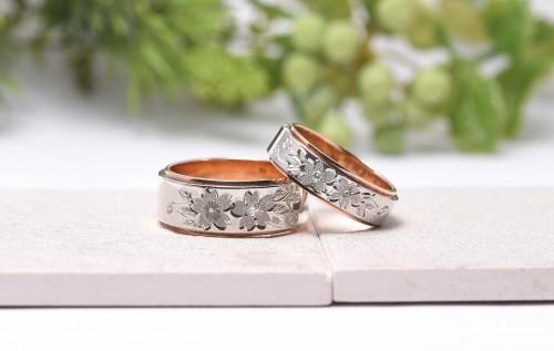 輪の結婚指輪|花4種さくら