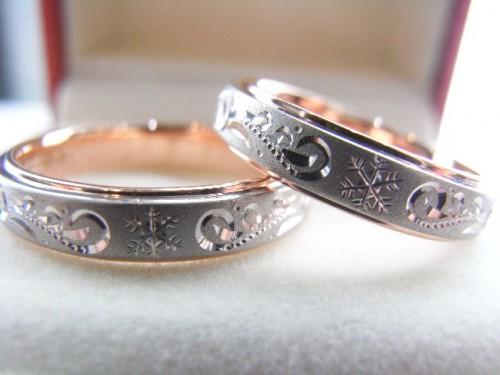 お客様の結婚指輪|雪の結晶×水縹