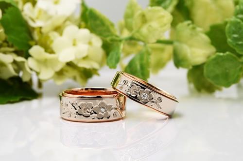 館林工房の結婚指輪|花4種うめ