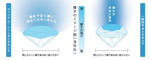 ウィリアム・レニーダイヤモンドの輝きの比較