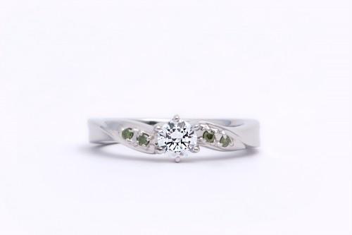 婚約指輪 WLD-12エメラルドグリーン