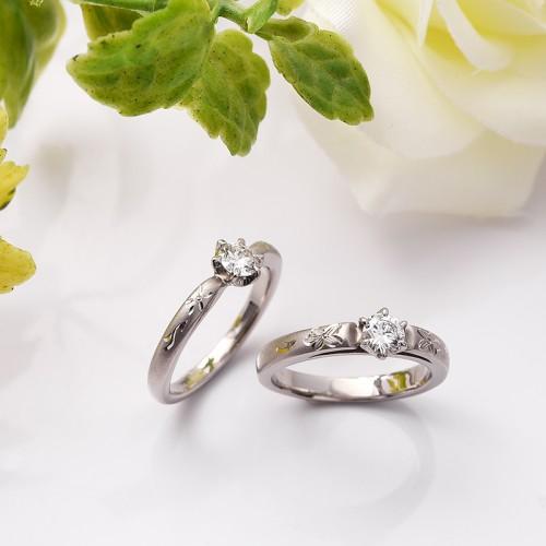 高崎工房の婚約指輪|オレンジの花2