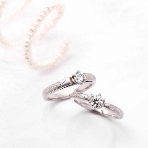 輪高崎工房の婚約指輪|天使の羽2