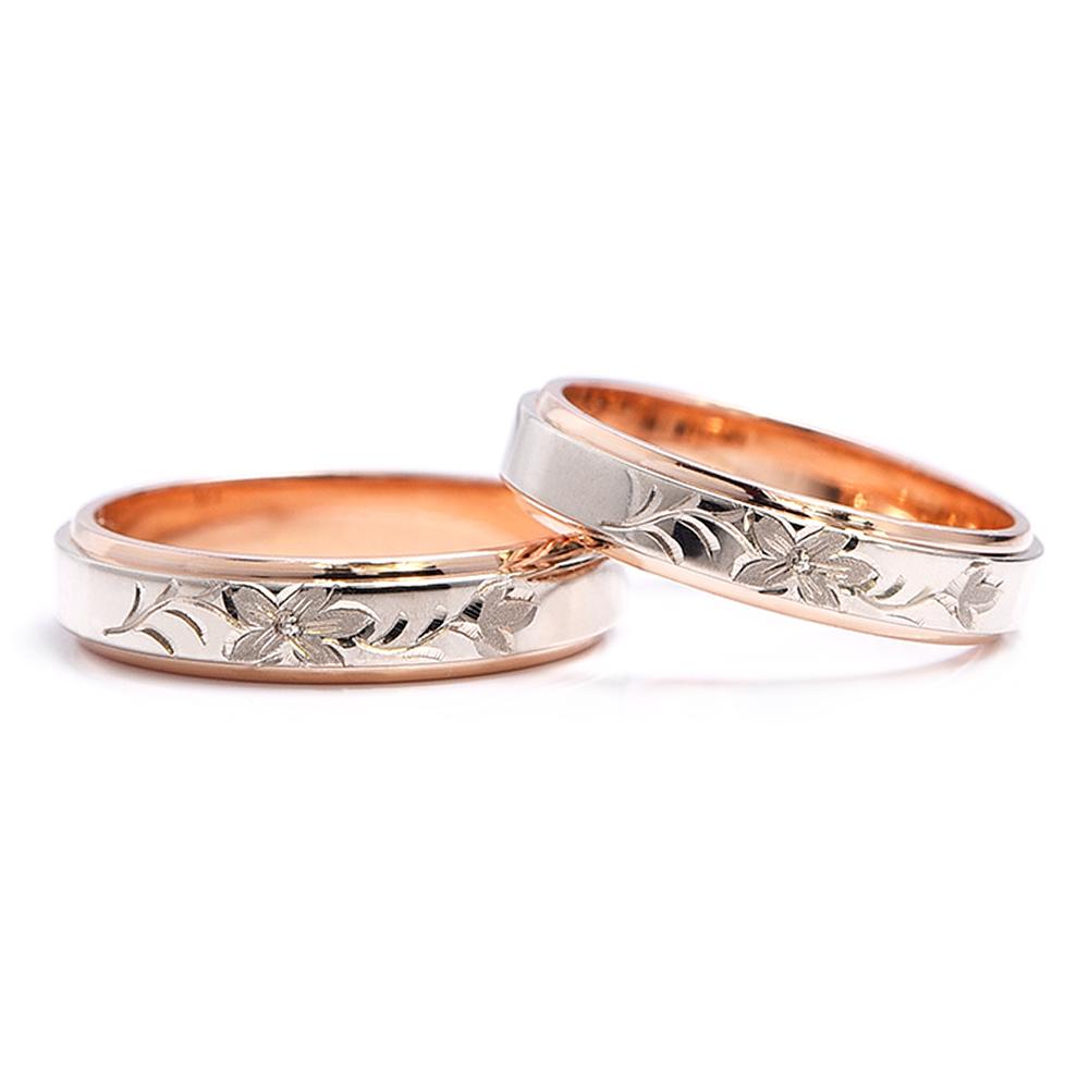 輪高崎工房の結婚指輪|オレンジの花